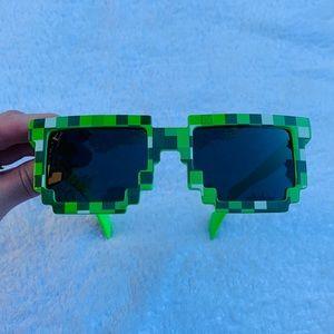 Geometric Minecraft Neon Forrest Green Sunglasses